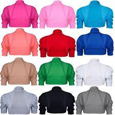 Ladies Womens Short Sleeve Cardigan Open Front Bolero Plain Cap Ribbed Shrug Top
