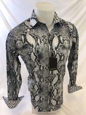 Mens PREMIERE Long Sleeve Button Down Dress Shirt GRAY REPTILE SNAKESKIN PRINT 2
