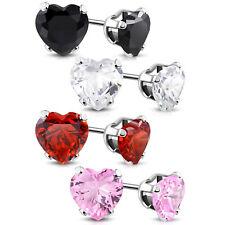 Stainless Steel Prong-Set Cubic Zirconia Love Heart Stud Post Piercing Earrings