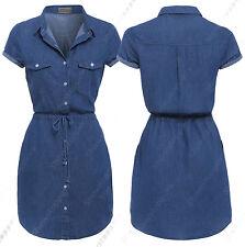 NEW Womens Longline Denim Shirt Dress Ladies Jean Dress Blue Size 8 10 12 14