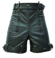 4247e2bf08 Mens Chastity Bondage Shorts Real Black Leather Locking REAR ZIP