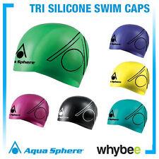 AQUA SPHERE TRI SILICONE SWIMMING CAPS - TRIATHLON SWIM CAPS Bright Colours