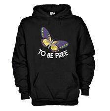 Felpa fun hoodie KG59 Butterfly to be free Farfalla Belen Rodriguez tattoo