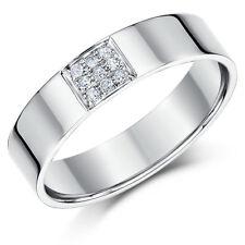 9 Ct Oro Blanco Anillo Con Diamante 5mm Media Caña Invertida Diamante Alianza