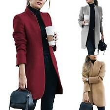 Women Winter Wool Trench Coat Blazer Long Cardigan Jacket Collar Parka Overcoat