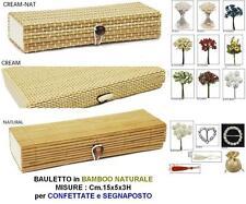 SET N.10 SCATOLA a BAULETTO Cm.15x5x3H BAMBOO NATURALE per BOMBONIERA e CONFETTI