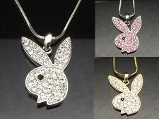PLAYBOY BUNNY RABBIT Pendant Necklace Crystal Silver Girl Lady Pink Blue Gold