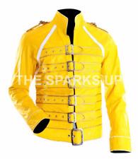 Para hombres Freddie Mercury amarillo Concierto Queen's Amarillo Cuero Chaqueta-Grande Venta
