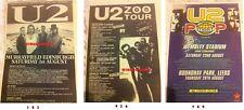 U2 - UK TOUR DATES 1987 1993 1997 - ORIGINAL SMALL ADVERT / FRIDGE MAGNET