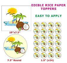 SUN Beach COCCO paradiso tropicale torta / cupcake Topper Commestibili in Carta di riso