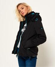 New Womens Superdry Pop Zip Hooded Arctic Sd-Windcheater Black