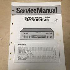 Original Proton Service Manuals for Audio Stereo Components