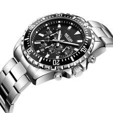 MEGIR Männer Casual Quarzuhr Chronograph Edelstahl Wasserdichte Armbanduhr