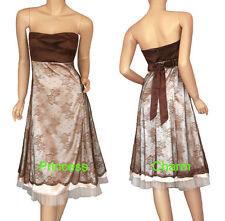 NEW Formal Evening Dress Brown Beige Size 8 10 12 14