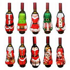 2pcs Santa Dinnerware Wine Bottle Apron Wrap Cover Christmas Tableware Decor