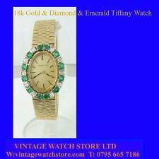 18k Gold & Diamond & Emerald Tiffany Ladies Watch 1971