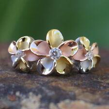 925 Silver Tri-color Gold Plumeria Flower CZ Wedding Ring Band 10mm #SR6078