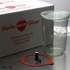 6 WECK ® Einkochgläser Einmachglas 3/4 ltr. Sturzform RR 100mm mit Glasdeckel