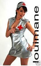 Argent Infirmière PVC * louimane * coquin et sexy, Uniforme Costume Robe Costume Tailles 8-22