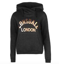 Lonsdale London Donna Felpa con cappuccio Pullover grigio carbone ORO