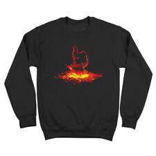 Thumbs Up Fire Terminator  90S  Retro  Ill Be Back Black Crewneck Sweatshirt