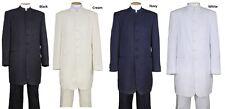 Men's Banded Collar Suit/Mandarin Collar Suit, 6-Button Solid Fortino Landi