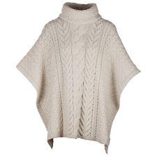 Ladies Cowl Neck Wool Poncho by Aran Mills