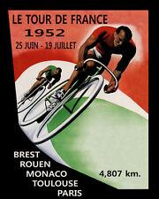 1952 Tour de France Bicycle Race Brest Rouen Monaco Vintage Poster Repo FREE S/H