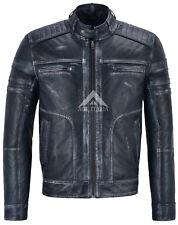 Para Hombre de Cuero Italiano Navy Vintage Retro de acción valiente Biker Jacket 1106