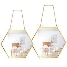 Wall Mirror Hexagonal Decor Brass Frames Home Bathroom Bedroom Living Room