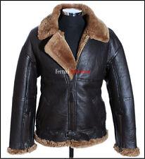RAF Men's Shearling B3 Brown Ginger Sheepskin WW2 Bomber Leather Flying Jacket