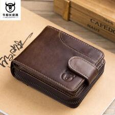 Men's Wallet Genuine Leather Credit Card Holder RFID Blocking Zipper Thin Hi-Q
