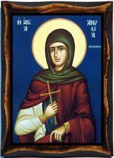 Saint Anisia of Thessaloniki Greek Orthodox Handmade wood Icon on plaque
