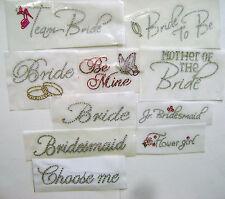 BRIDAL ~ WEDDING PARTY ~ MARRIAGE  RHINESTONE IRON ON HEAT TRANSFER  APPLIQUE