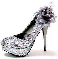 New women's shoes stilettos flower pewter glitter party wedding formal platform