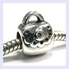 STR Silver Handbag Bag Purse w/ Clear CZ Crystal Bead f/ European Charm Bracelet