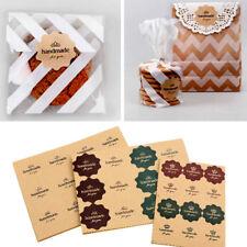 120PCS Vintage Flower Wave Kraft Paper Handmade for you Seal Sticker Gift AB