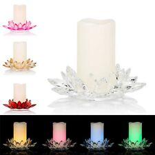 LED Kerze + Kristallglashalter,15 cm Höhe Ø 20,5,Timer,Warm-weiß & Farbwechsel