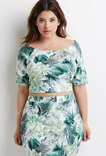 Forever 21+ Plus Size Tropical Floral Print Knit Crop Top  1X