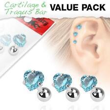 316L Surgical Steel Tragus/Cartilage Stud with Aqua Gem Heart 3 Pack