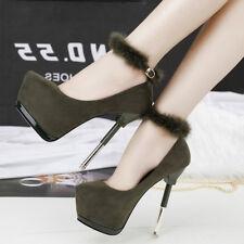 zapatos de salón invierno 15 tacón aguja verde piel como cómodo 9557