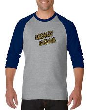 Gildan Raglan Tshirt 3/4 Sleeve Legally Insane Funny Crazy Fun Attitude S M L XL