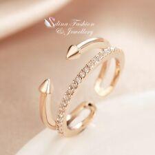 18K White & Rose Gold Filled Simulated Diamond Punk Adjustable knuckle Ring Set