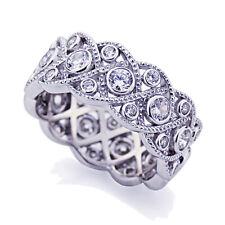 Women 9mm 14K White Gold Vintage CZ Bezel Wedding Anniversary Eternity Ring