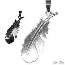 1 hübscher Kettenanhänger Feder silbern schwarz Anhänger Edelstahl