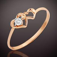 Russische Rose Gold 585 Goldring mit Diamant. Herz an Herz Ring Hübsch!!!