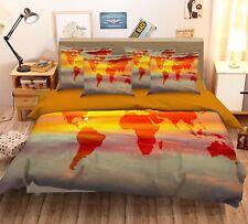 3D Sunset World Map 421 Bed Pillowcases Quilt Duvet Cover Set Single Queen CA