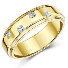 9ct GIALLO Anello Oro Diamante Anello di matrimonio 6mm