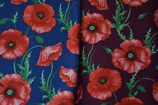 kuscheliger Sweat-Stoff mit Mohnblumen blau und weinrot 50 cm x 150 cm