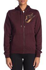 NWT NIKE Logo Women's Full Zip Hoodie Sweatshirt Burgundy Gold $65!